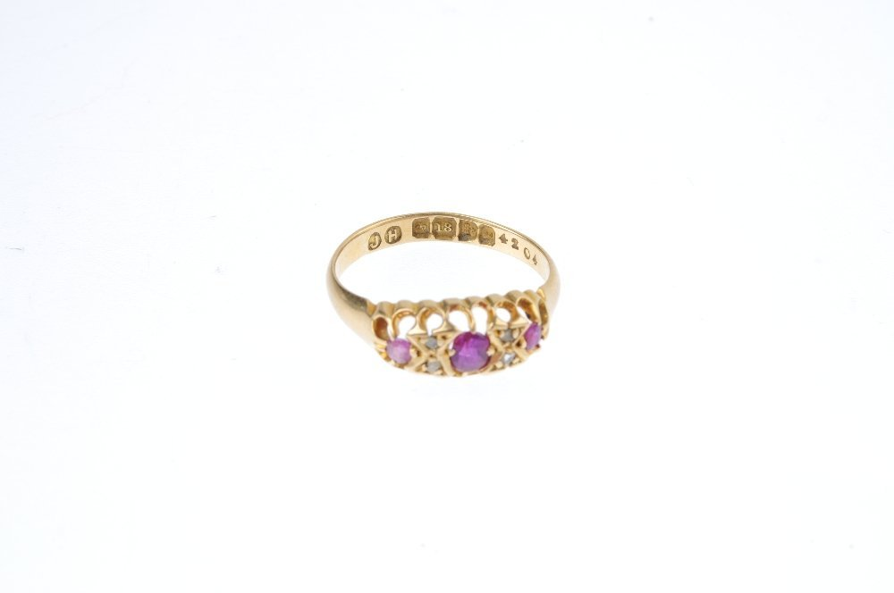An Edwardian 18ct gold ruby and diamond ring. The - 3