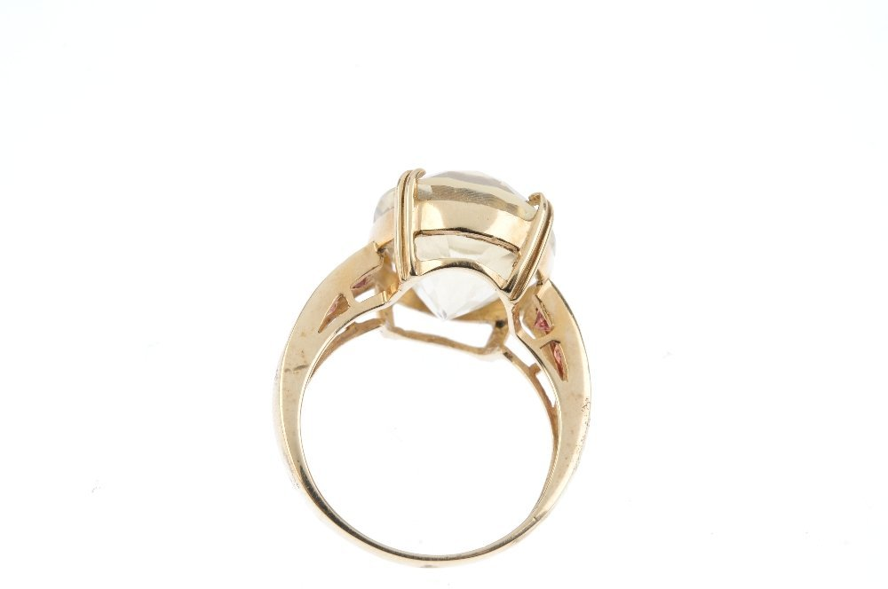 A citrine and gem-set ring. The oval-shape citrine, - 3