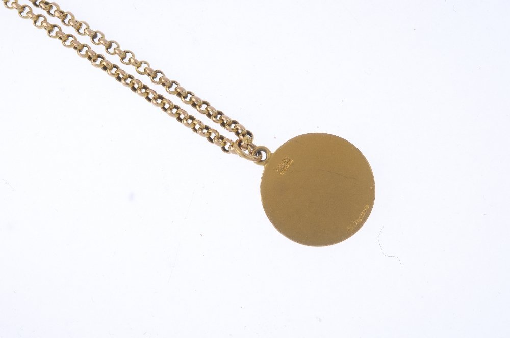 P VINCZE - a 9ct gold pendant. The circular-shape - 2