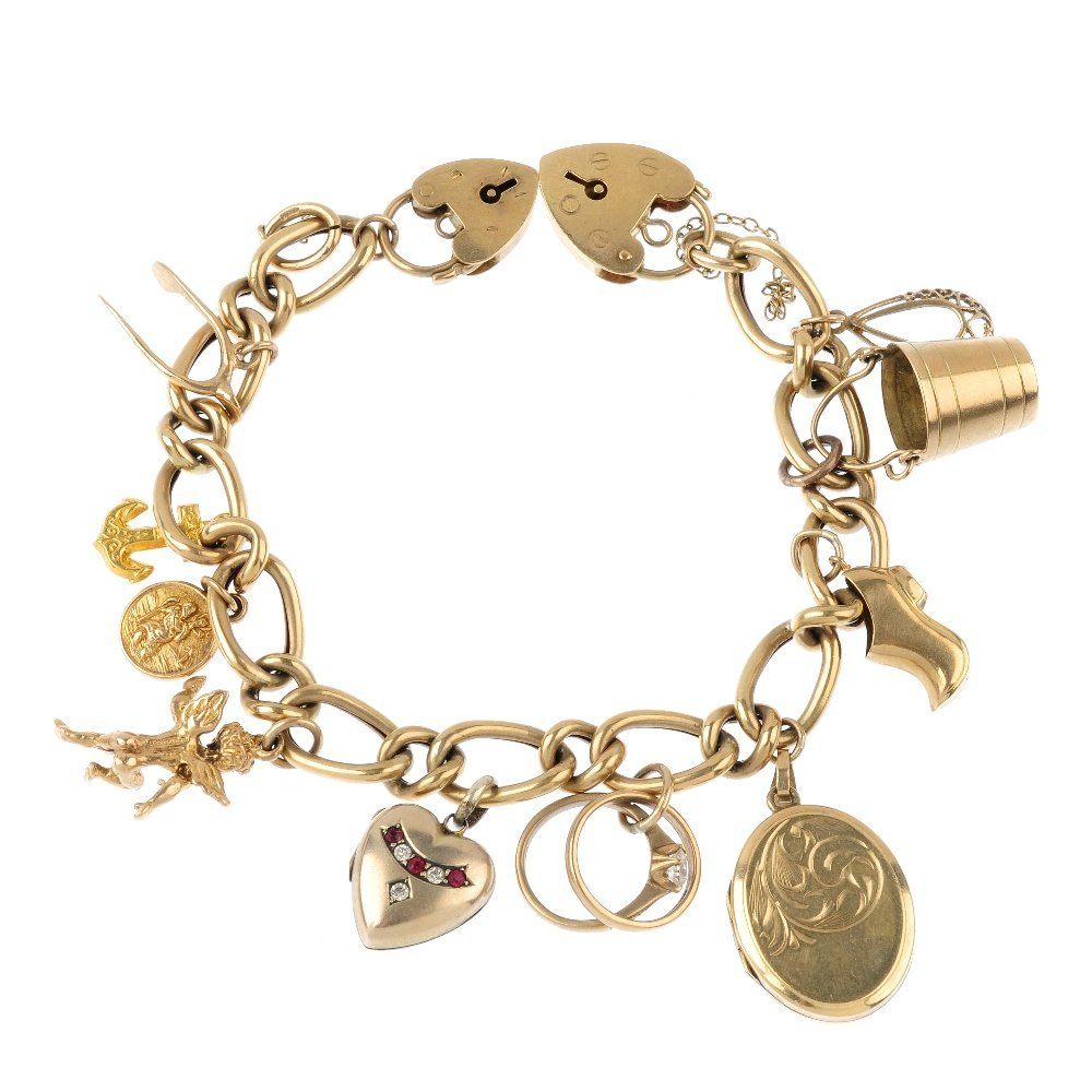 A charm bracelet, with two 9ct gold padlock clasps. The