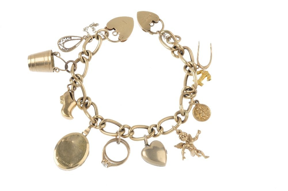 A charm bracelet, with two 9ct gold padlock clasps. The - 2