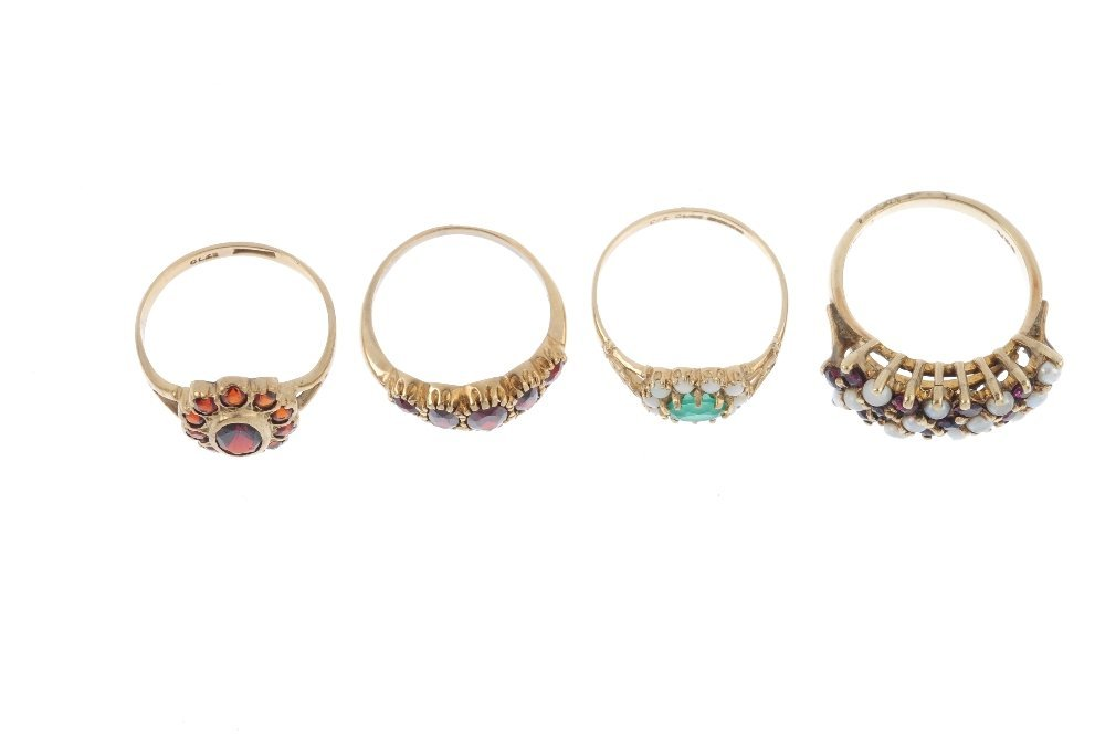 Four 9ct gold gem-set rings. To include a green gem and - 3