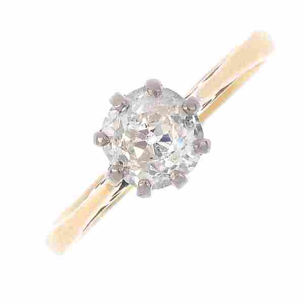 A 14ct gold diamond single-stone ring. The old-cut