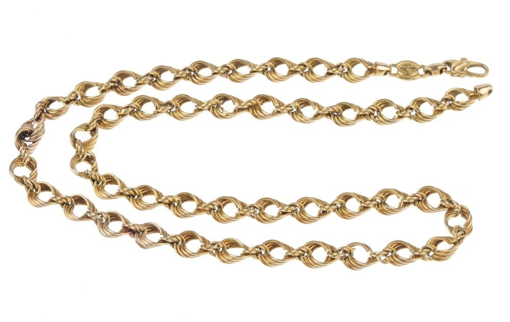 (1203) A necklace. Designed as a fancy-link chain, with - 2