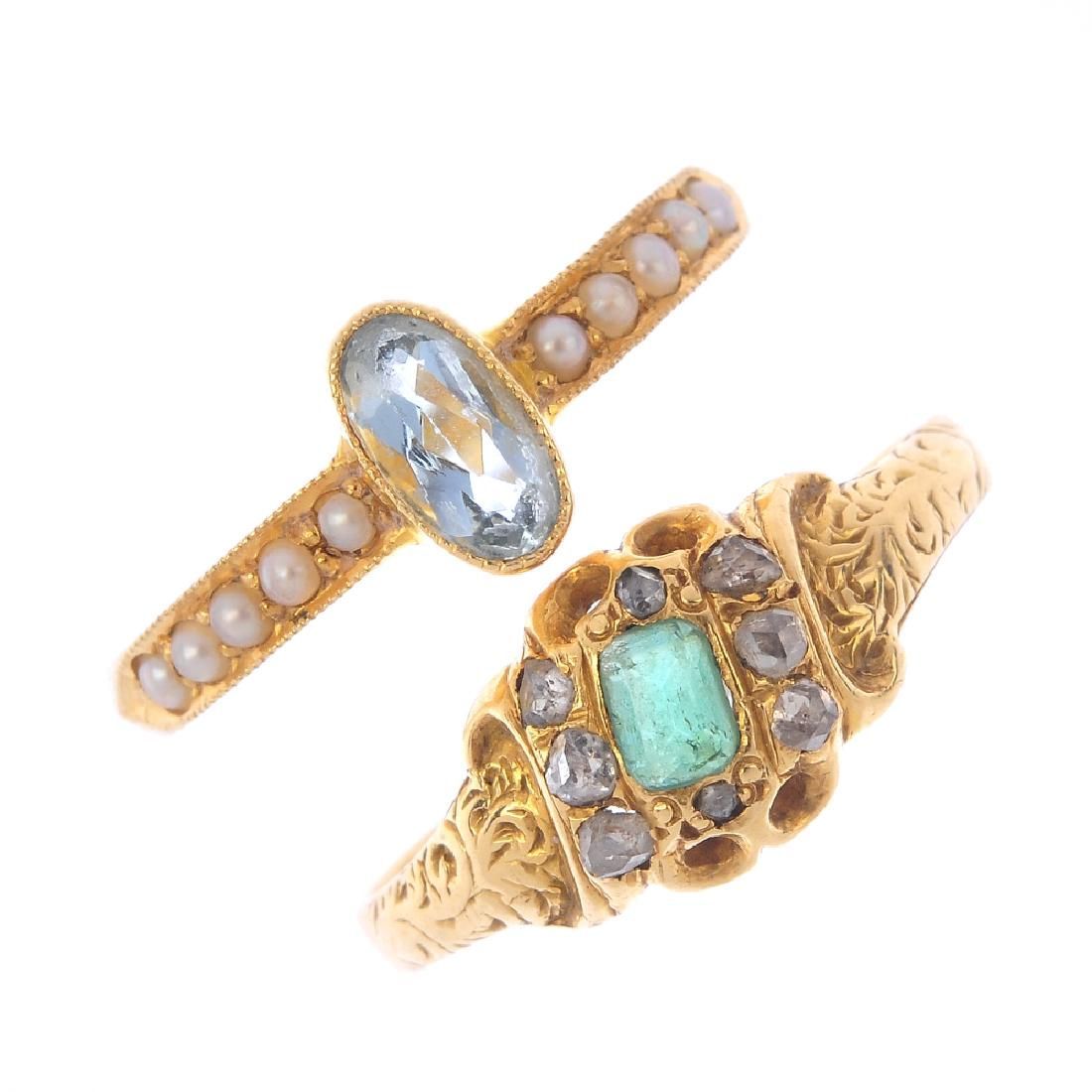 Two early 20th century gold gem-set rings. To include a