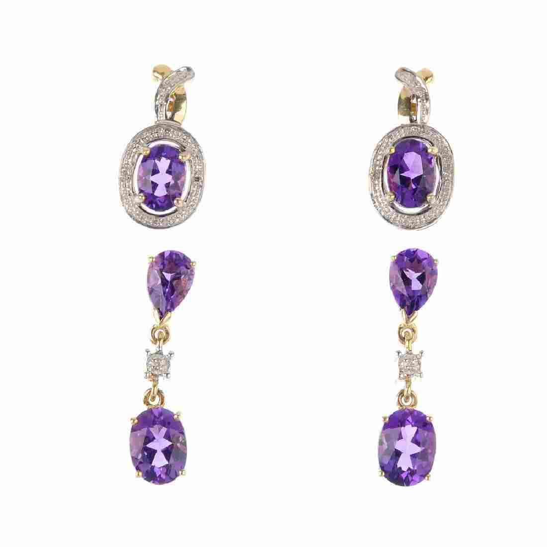 Two pairs of 9ct gold amethyst and diamond earrings. To