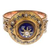 A late Victorian gold enamel, split pearl and diamond