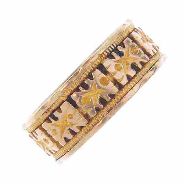 A late Victorian 18ct gold ring. Designed as a series