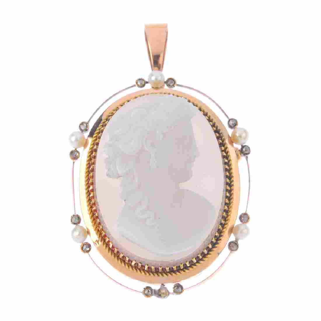 A late Victorian gold, agate cameo and gem-set pendant.