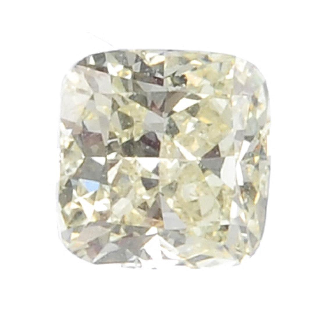 A square-shape coloured diamond, weighing 0.62ct. With