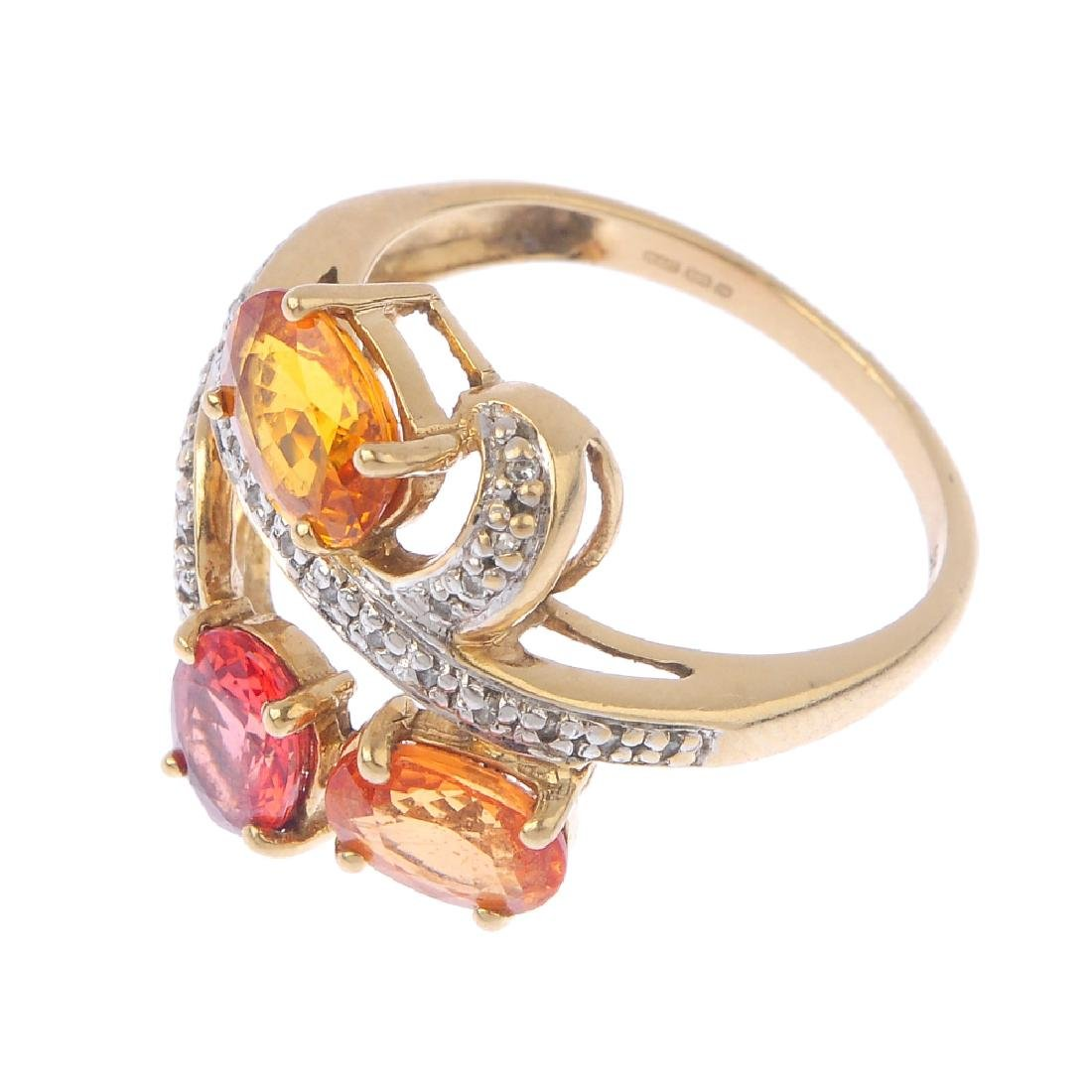 A 9ct gold diamond and gem-set ring. The oval-shape - 3