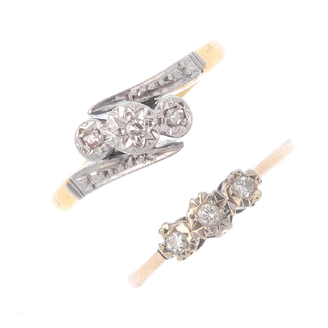 Two diamond three-stone rings. Each designed as an