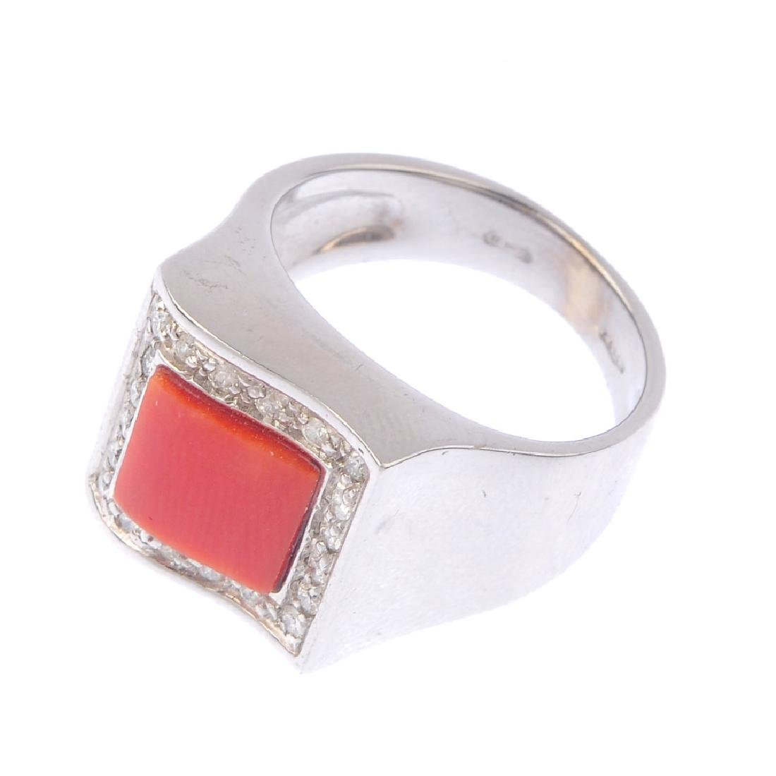 A coral and diamond dress ring. The square-shape coral - 3