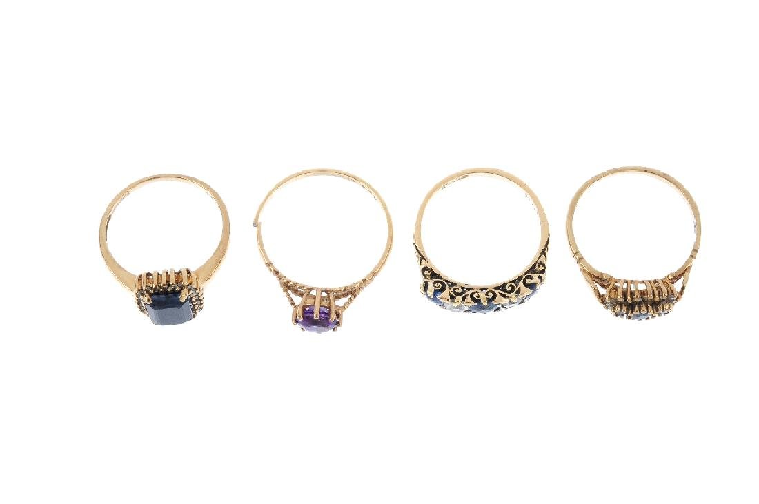 Four gem-set rings. To include a 9ct gold amethyst - 2