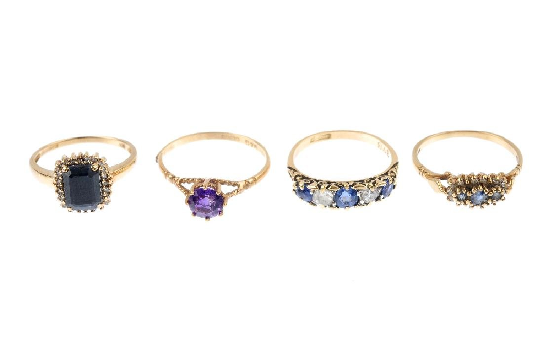 Four gem-set rings. To include a 9ct gold amethyst - 3