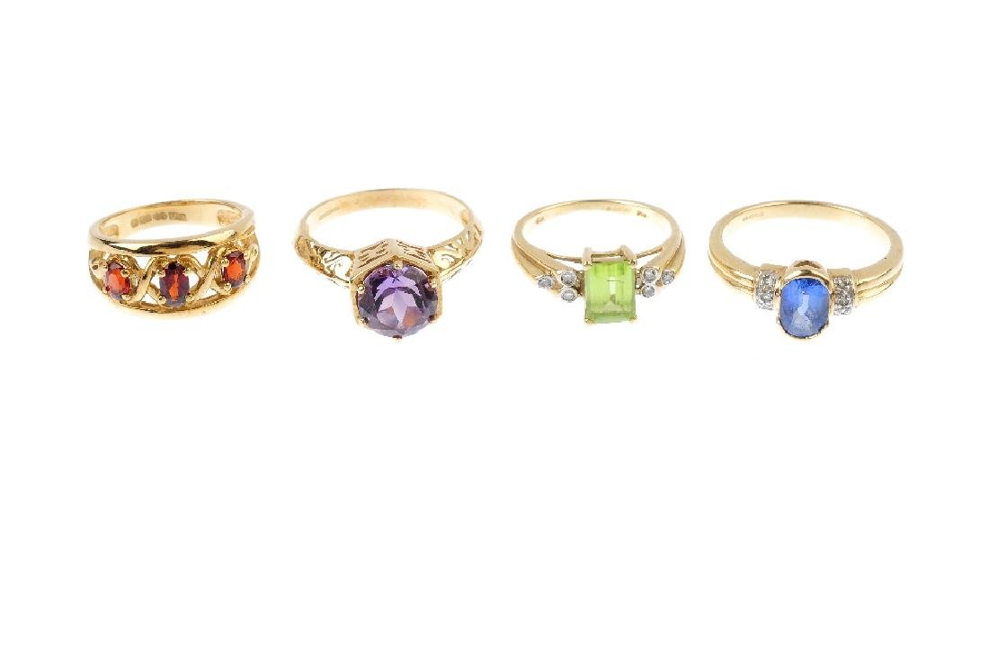 Four 9ct gold gem-set rings. To include an amethyst - 3