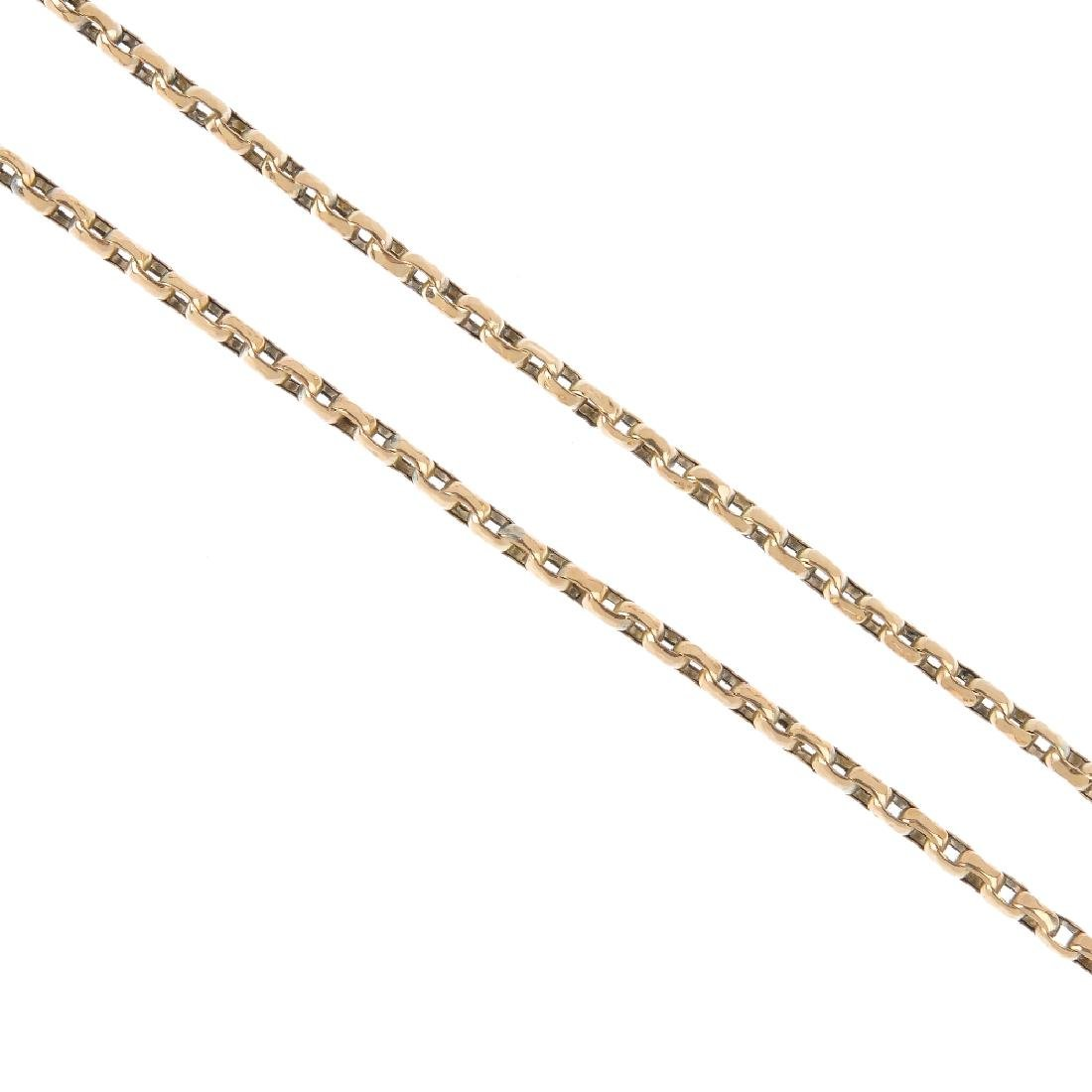 A Victorian 9ct gold longard chain. The faceted