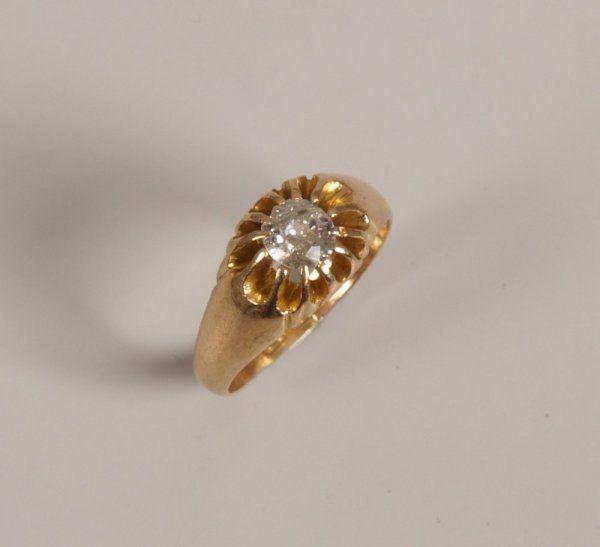 18ct gold single stone old european cut diamond rin