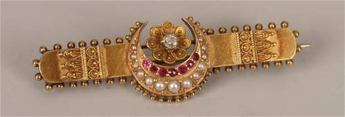209: Victorian diamond, seed pearl and ruby set bar bro