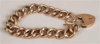 403: Edwardian 9ct rose gold hollow curb bracelet and p
