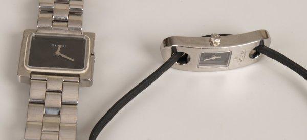 """1023: GUCCI - a gentleman's steel cased """"G"""" bracelet wa"""
