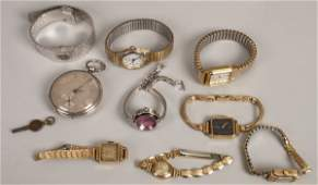 A collection of eight wristwatches and a pocket w