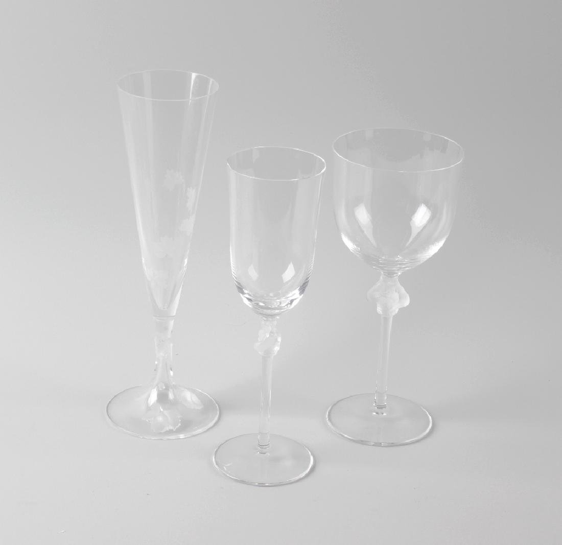 Five pairs of Lalique wine and champagne glasses.