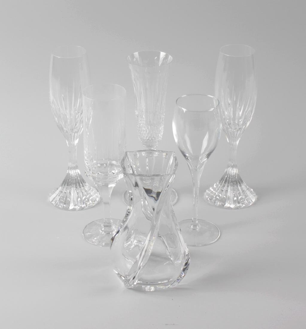 Seven pairs of French champagne glasses. Comprising