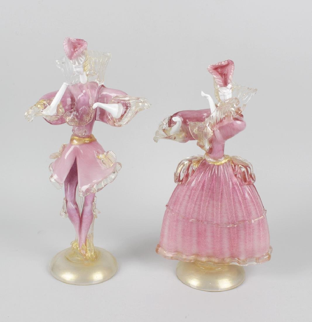 A pair of Murano pink and white mottled glass figures,