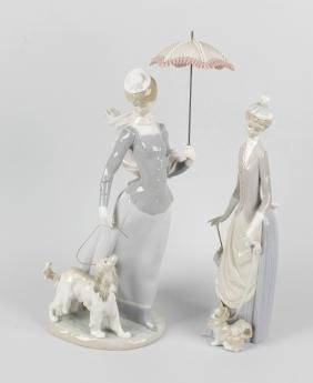 A group of five Lladro figures, to include a large