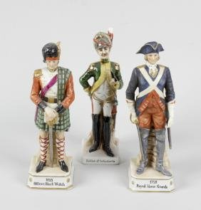 A group of eight Continental porcelain military