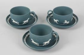 A Wedgwood teal jasperware part tea service, comprising