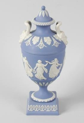 A Wedgwood Prestige blue jasperware urn and cover,