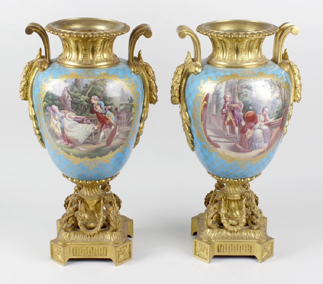 A fine pair of 19th century ormolu-mounted Sevres-style