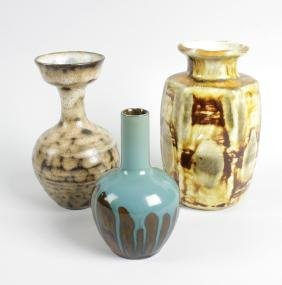 Three studio pottery vases, the first example of