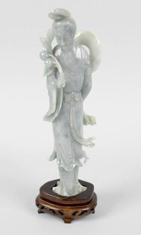 A Chinese carved jade figure modelled as The Goddess of