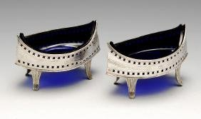 A matched pair of George III Irish silver open salts