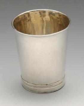 A William III Britannia silver beaker of plain slightly