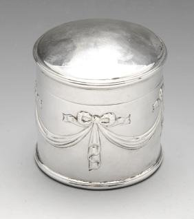 A late Victorian silver box of cylindrical form