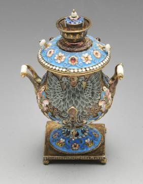 A miniature Russian samovar, decorated in cloisonné