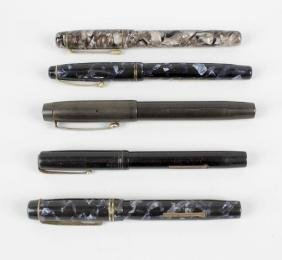 A Wyvern fountain pen, the blue and black mottled body