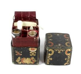 A travel sewing case having gilt and tooled decoration,