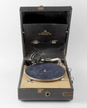 Two cased gramophones, comprising a May-Fair DeLuxe and