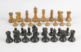 A Jaques 'Staunton' carved wooden weighted chess set,