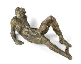 A modernist bronze sculpture, modelled as a stylised