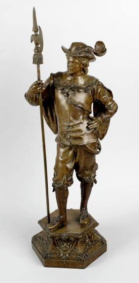 A large early 20th century spelter figure, modelled as