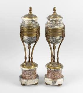 A pair of 19th century breccia and rouge marble ormolu