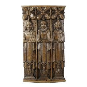 A group of two oak Atlantes and a Caryatid. Possibly