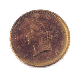 USA, Liberty head gold Dollar 1853, 1.6g. Very fine,