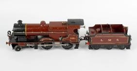A Hornby 0 gauge tinplate and metal bodied clockwork